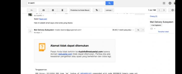 Email gagal dan tidak terkirim