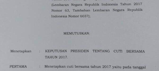 Keputusan Presiden Nomor 18 Tahun 2017 tentang Cuti Bersama
