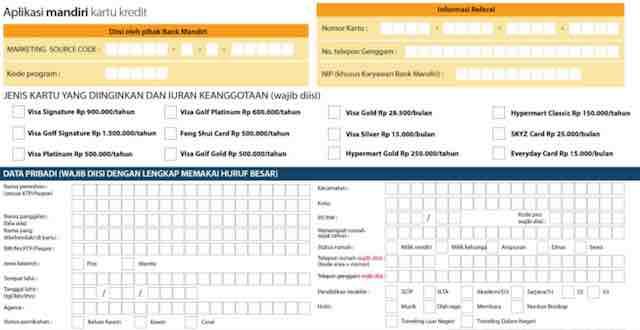 Formulir Aplikasi Pengajuan Kartu Kredit Mandiri