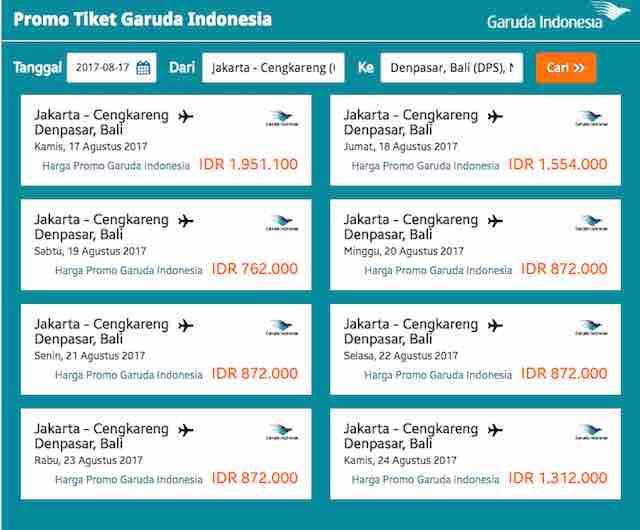 Promo tiket Garuda Indonesia hari ini