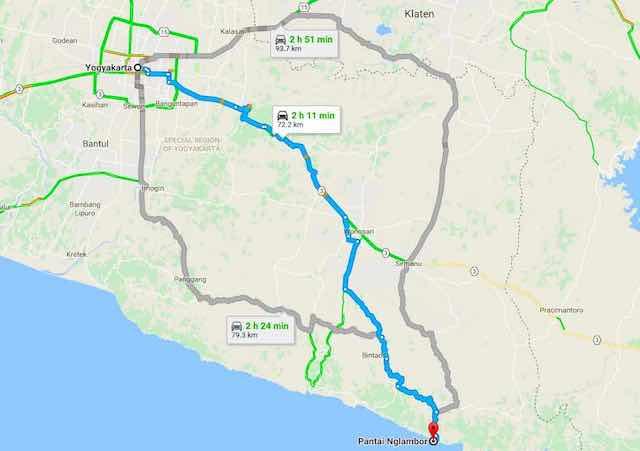 Rute Navigasi ke Pantai Nglambor dari Yogyakarta