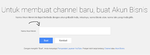 Buat Nama Channel Youtube Baru